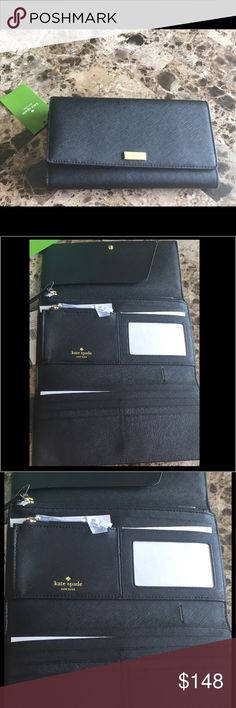 """Kate Spade Phoenix Newberry Trifold Wallet Black New Kate Spade Trifold Wallet black Phoenix Newberry lane with snap closure.  Has mild scratches on Kate Spade gold logo. Does not come with dust bag or box. Eight credit card slots, one billfold, interior slide packets interior zipper pocket, zipper change compartment and ID window with gold Kate Spade logo. Larger and measures 8.25"""" x 5"""". See photos for authentication.  Price firm unless bundled there is a small discount.  See my other…"""