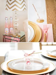 DIY gold glittered place settings