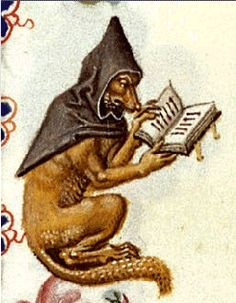 Wolf As Monk (in a monk's cowl): in the margins of a Book of Hours, Utrecht, c 1460 - Reynard the Fox