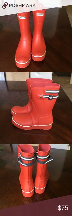 NEW Hunter boots Hunter. Shortie rain boots. Red with navy and white stipe strap. New without tags or box. Never worn. U.K. 7 US 9. Hunter Boots Shoes Winter & Rain Boots