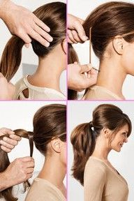 "To get backcombing to stay in place when creating a pony tail, connect your elastic to 2 bobby pins. Place the first bobby pin as shown, and wrap the elastic around until the pony tail is secure, then push the second bobby pin into the pony tail and interlock them, creating an ""X""."