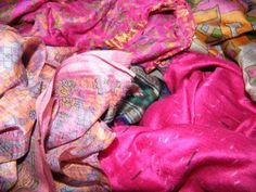 Second Hand Silk Sari Fat Quarters 32 Candy Pink by Glitzandpieces, $9.00