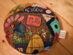 The Painted Quilt: Wool Crazy Pincushion Finish!