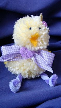 Yellow and Purple Pom Pom Easter Chick