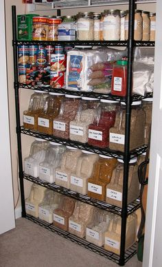 Organized and cheap.  Check out the containers on the bottom three shelves.