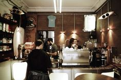 """Double Eye, Berlin's original espresso café, opened in Schöneberg back in 2001. Servers will ask you one question: """"Strong or mild?"""" Strong espresso costs exactly one euro and is of the ultra-ristretto variety—a highly concentrated swallow of perfection."""