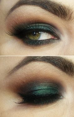 Dark green smokey eye