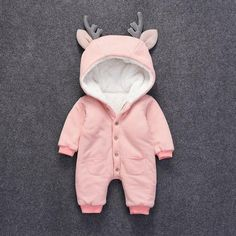 * Fleece lining<br /> * Button closure<br /> * Soft and warm<br /> * Material: 50% Cotton, 50% Polyester<br /> * Machine wash, tumble dry<br /> * Imported<br /> <br /> Cute, cuddly and oh-so soft, this easy 1-piece is perfect for playtime, tummy time, or anytime!