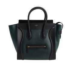 1a8d5bfbe910 Celine Forest green and black leather  Mini Luggage  shopper tote ( 2