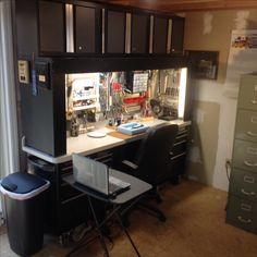 Revamping nearing completion! At this point I& added my lighted magnifier,. Hobby Desk, Hobby Room, Workbench Top, Workbench Plans, Home Office Setup, Desk Setup, Home Workshop, Garage Workshop, Garage Shop