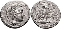 Athens AR New Style Tetradrachm. ca 135/4 BC. obverse: Head of Athena right, in triple-crested Attic helmet decorated with a palmette & griffin reverse: Owl standing right, head facing, on amphora; to left, bow in bowcase behind lion's skin draped over vertical club; magistrates names to right. all within olive wreath.