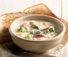 This creamy and delicious potato soup is loaded with sliced kielbasa and broccoli.