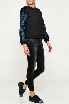 sweat shirt eleven paris travolta noir femme sweatshirt pret a porter femme