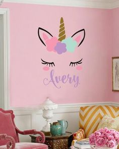Personalized girls name unicorn wall decal ~Available in 2 sizes ~ You choose si. Personalized girls name unicorn wall decal ~Available in 2 sizes ~ You choose size and name color w Unicorn Wall Decal, Unicorn Room Decor, Unicorn Rooms, Unicorn Bedroom, Unicorn Names, Girls Room Paint, Girl Bedroom Walls, Girl Bedroom Designs, Girls Room Wall Decor