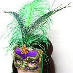 Wholesale Mardi Gras masks with a good look at a small cost.  These eye masks in satin have a crown of ostrich and peacock feathers.  Sequins decorate the Mardi Grs masks that use the traditional color of purple, gold, and green.   http://www.awnol.com/store/Masks/Mardi-Gras-Masks