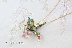 Origami Jewelry  Japanese Origami Crane Necklace by KumikosOrigami