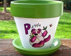 Colorful Butterfly Painted Flower Pot  4 inch size