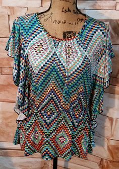 NEW DIRECTIONS Womens Geometric Multicolored Semi Bat Wing Shoulders Size Large #NewDirections #Blouse #Casual