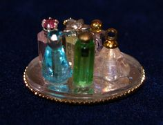 Miniature Doll house Decorated Artisan bathroom vanity tray 1:12 Vintage inspired dollhouse perfume balth salts bottles