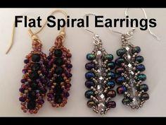 Flat Spiral Earrings--Beginners   ~ Seed Bead Tutorials