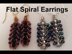 Flat Spiral Earrings--Beginners   ~ Seed Bead Tutorials