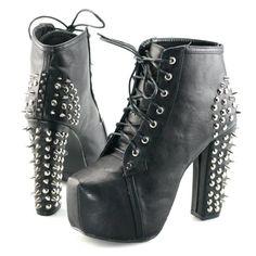 Womens spike stud lace up high block chunky heel platform shoes booties boots  #PlatformShoesForWomen