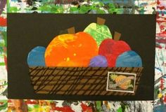 Still-life 2nd grade study. Also painted papers--Eric Carle study