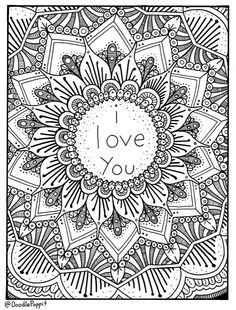 I Love You Coloring Page Book Pages Printable Adult Hand Drawn Doodle Words Art Therapy Instant Download Print
