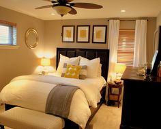 Our master bedroom layout and color with mounted tv