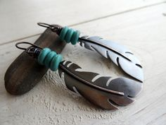 Copper Raven Feather Earrings  Hand Cut by LostSparrowJewelry