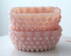 A Pair of Vintage Fenton Pink Hobnail Glass Salts ....
