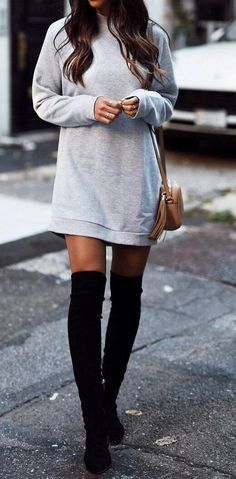 #fall #style  Grey Dress // Black Knee Length Boots
