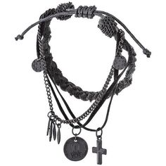 LEATHER AND CHAIN WRISTBAND- Wristwear - Mens Jewelry - Mens... ❤ liked on Polyvore