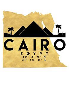 CAIRO EGYPT SILHOUETTE SKYLINE MAP ART von deificusArt