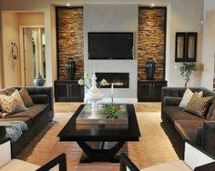like this but with dark hardwood floors on tvwall with stone accents to the side