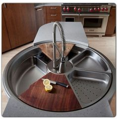 Unique Sink that as a handicapped person would make doing things in the kitchen easier.