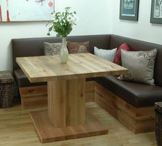 Breakfast Nook: if your short on space this is the way to go to make the most of your living area: Adding a leaf table will expand seating with a bench seat and or chairs on the other side when needed for additional guests:-)