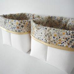 Panier de rangement petit modèle - simili cuir blanc et tissu liberty adelajda kaki - bord doré