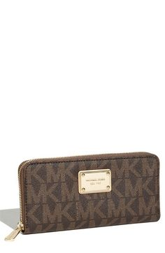 MICHAEL Michael Kors 'Jet Set - Signature' Zip Around Wallet available at #Nordstrom