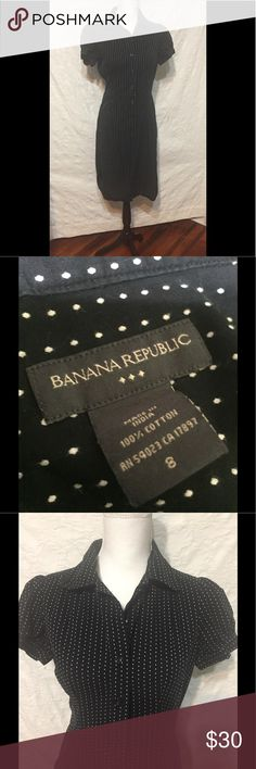 Banana Republic Black Polka Dot Bottom Down Size 8 Banana Republic Black/White Polka Dot Bottom Down Dress Size 8  Gently worn and in great condition.   Measurements when laid flat:  20 inches from armpit to armpit  16 inches across smallest part at waist  about 20 inches across widest part at hip  39 inches from top to bottom  Need a dress for a special occasion and don't want to spend a lot of money? Check out my other listings. You just might find the perfect dress!  Please…