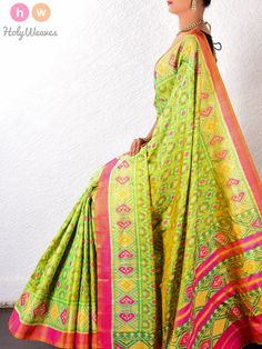#Green #Katan #Silk #Patola #Handwoven #Saree #HolyWeaves