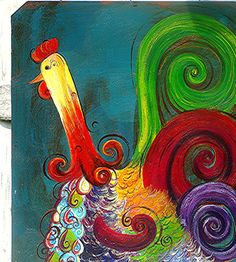 Original Folk-art Painting-Kaleidoscope Rooster Sitting on a Hill of White Daisies. $150.00, via Etsy.