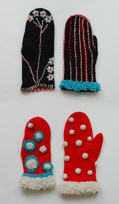 chest , You are in the right place about handschuhe sitricken igel Knitted Mittens Pattern, Knit Mittens, Mitten Gloves, Recycled Sweaters, Textiles, Funky Outfits, Fingerless Mittens, How To Purl Knit, Knit Crochet