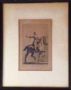 """Antique signed French etching of 'Statue de Jeanne Di Arc par Dubois. 8.5""""w x 10.5""""h SOLD"""