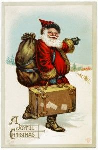 vintage Christmas postcard graphic, free digital santa postcard, sander Christmas postcard, antique christmas image, vintage santa illustrat...