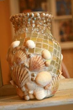Coastal Shores Custom Mosaic Seashell Vase by nancylee97 on Etsy