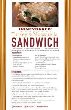 HoneyBaked Turkey and Mozzarella Sandwich #HoneyBaked #Turkey #Sandwich #Recipe www.HoneyBaked.com