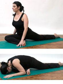 Pigeon Pose -  I think this is the best stretch for tight IT bands (that can trigger knee pain).  I feel instant relief to my achy knee after doing this stretch.  I recommend doing this stretch after showering when the muscles are still warm for lasting effect and relief.