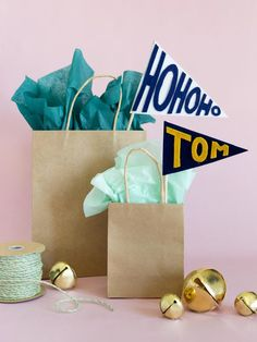 Holiday Gift Wrapping, felt pennant tags