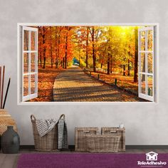 Pegatinas decorativas para pared en Teleadhesivo Flower Window, Modern Architecture, Wall Murals, Sweet Home, Exterior, Paintings, Windows, Wallpaper, Flowers